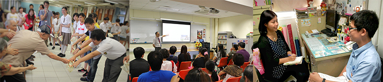 Three photos: social service programme, parents' talk, counseling session